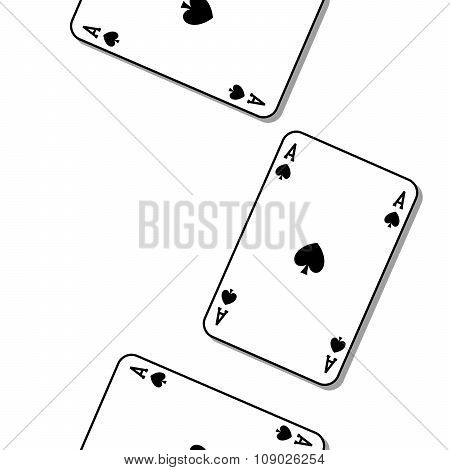 Ace of spades, repetitive texture. Poker card.