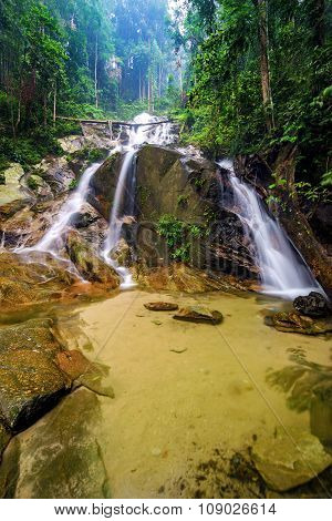 Beautiful Cascading Waterfall In Tropical Forest