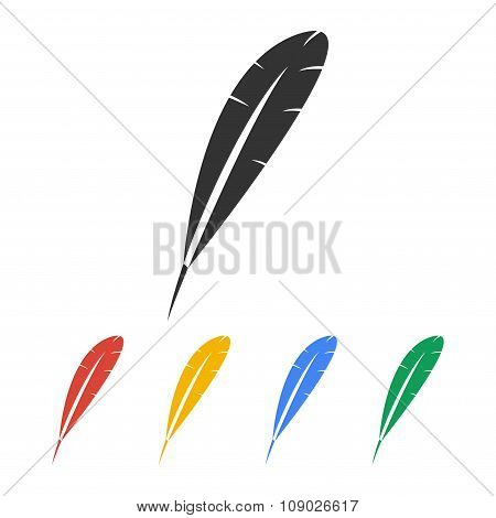 Feather Icon. Flat Design Style