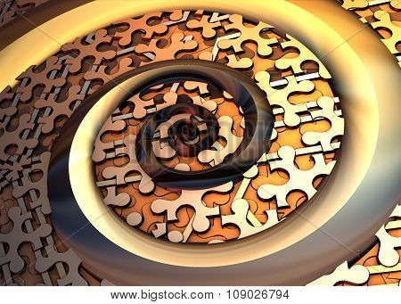 Gold spiral on puzzled background