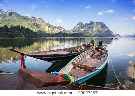 Landscape And Long-tailed Boat In Ratchaprapha Dam At Khao Sok National Park, Surat Thani Province,