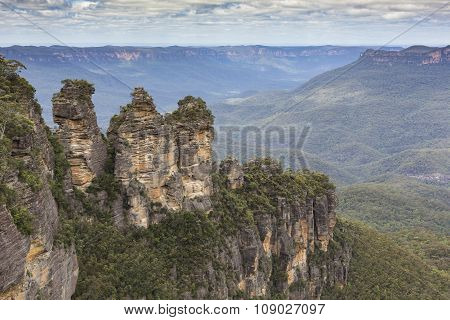 The Famous Three Sisters Rock Formation In The Blue Mountains National Park Close To Sydney, Austral