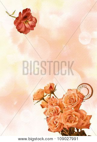Vintage toned background texture with bokehs, a bouquet of flowers