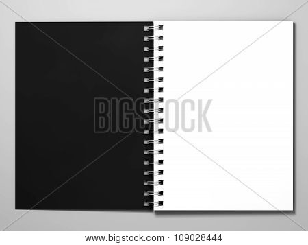 Diary on white background. 3d rendering