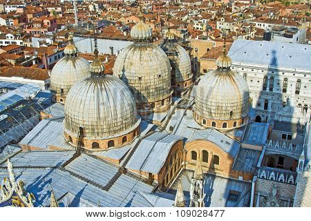 Overlooking The Marcus Church In Venice From Campanile De San Marco
