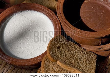 Yogurt Or Yoghurt In Clay Pot