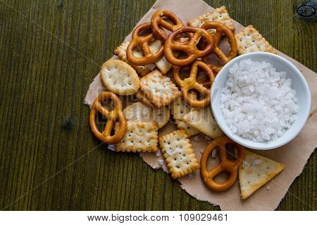 Selection of salty snacks