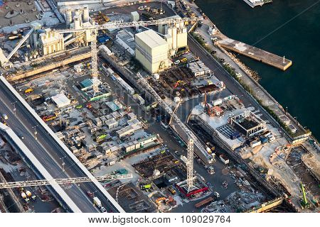 Aerial Cityscape View With Building Construction. Hong Kong