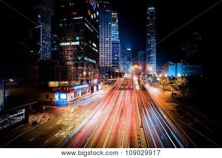Futuristic Night Cityscape View. Hong Kong