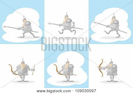 A Set Of Vector Shapes Funny Medieval Knight With A Spear In The Hands And Archer With Arrow  Isolat