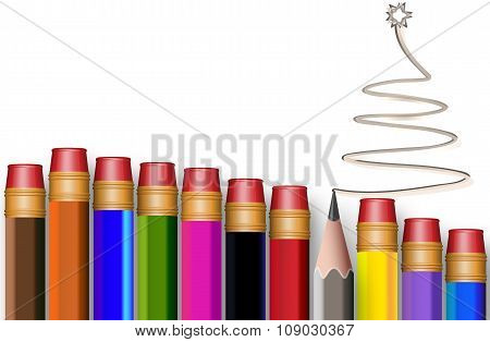 The Concept Of Multi-colored Pencils With Tree