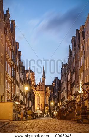 Beautiful Mariacka Street In Gdansk Old Town Poland
