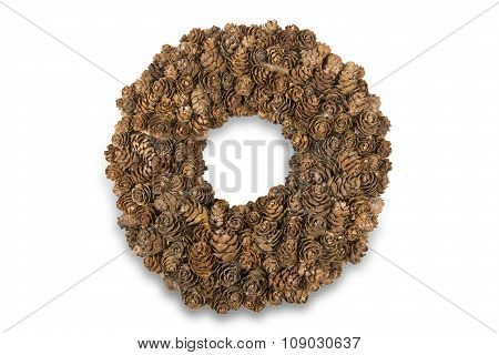 Handmade wreath with larch cones isolated