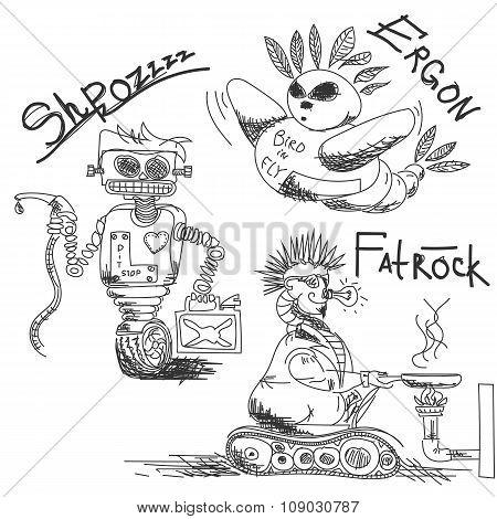 Vintage, antique robots
