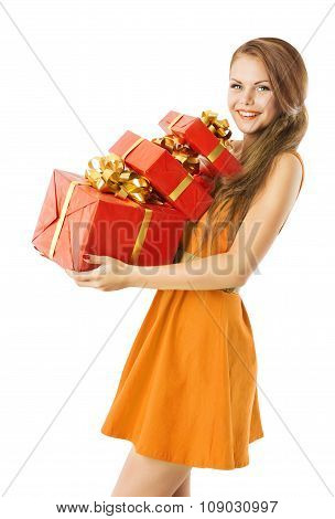 Woman Holding Presents Gifts Boxes, Model Girl on White
