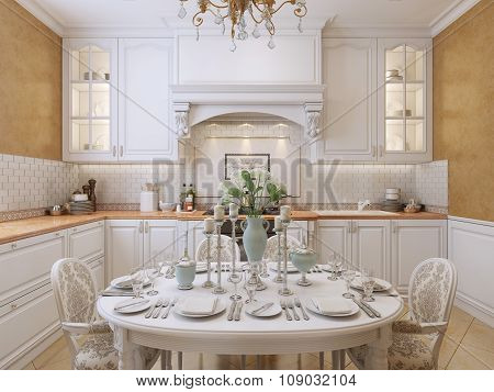 Luxury Kitchen Design In A Classic Style.