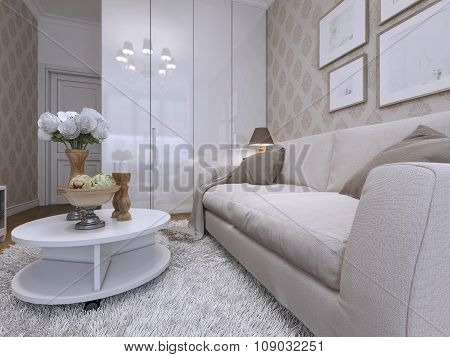 Sofa And Coffee Table In The Guest Room, Modern Style.