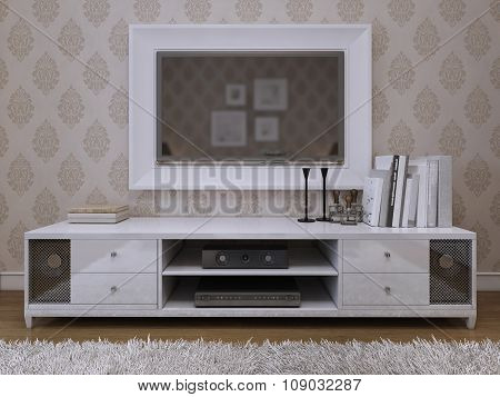 Tv Unit With A Tv On The Wall In A White Frame.