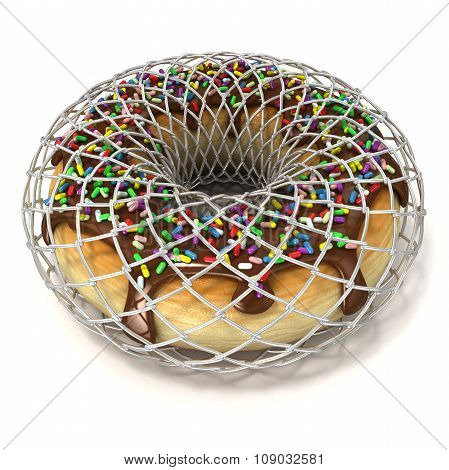 Chocolate donut with sprinkles in wire fence as symbol of diet