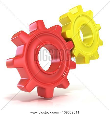 Red and yellow gear wheels 3D concept