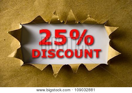 Torn Brown Paper With 25% Discount Words