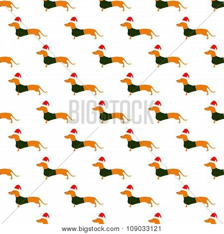 Pattern With Dachshund In Christmas Hat And Green Waistcoat