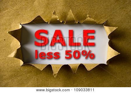 Torn Brown Paper With Sale Less 50% Words
