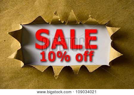 Torn Brown Paper With Sale 10% Off Words
