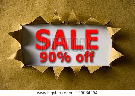 Torn Brown Paper With Sale 90% Off Words
