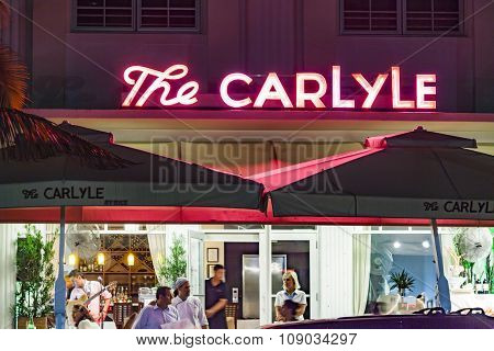 Night View At Ocean Drive With The Carlyle Hotel