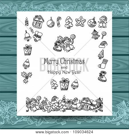 Set Christmas doodle elements   on white with blue wood