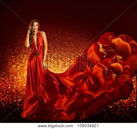 Fashion Woman Red Dress, Beauty Model Gown Flying Silk Fabric, Elegant Girl Flowing Cloth