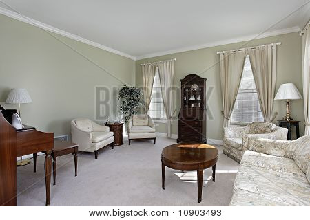 Living Room With White Carpeting
