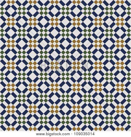 Seamless background image of vintage square diamond check geometry pattern.