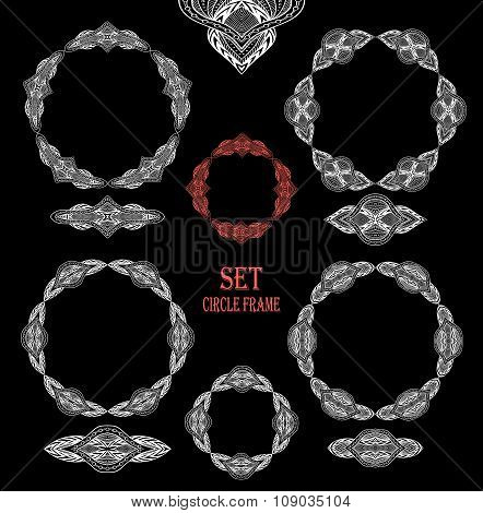 Set Circle lace frames decoration elements black on white