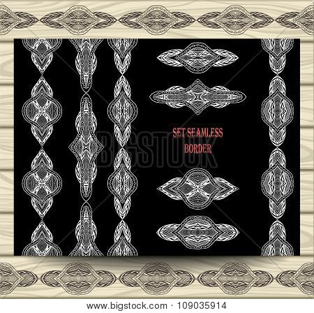 Set seamless border lace ribbons decoration elements white on black