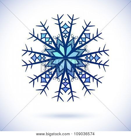Floral snowflake, Isolated design element, Vector illustration