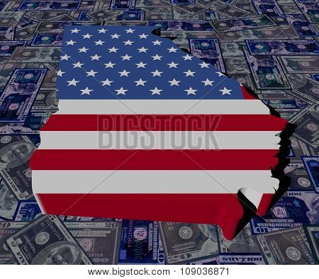 Georgia map flag on dollars illustration