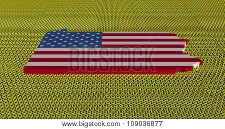 Pennsylvania map flag on golden dollars coins illustration