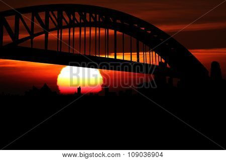 Sydney skyline at sunset illustration