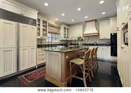 Kitchen With Granite And Wood Island