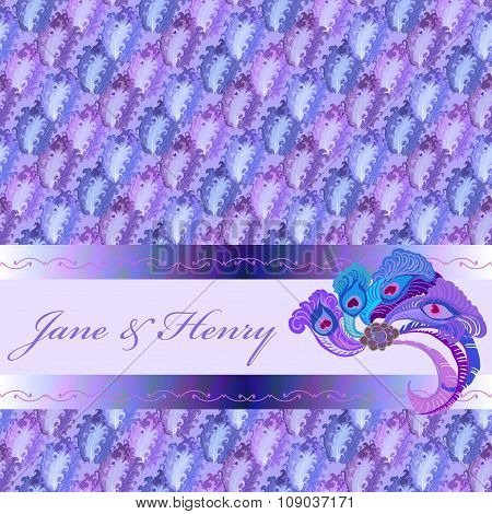 Background of blue pattern, peacock fether decor and text place