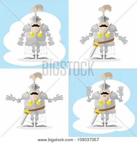 A Set Of Vector Shapes Funny Medieval Knight In White Cloak Isolated On White Background