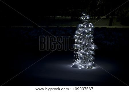 A Christmas tree out in the darkness.