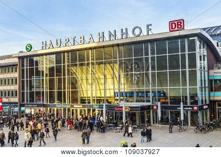 People On The Main Train Station In Cologne In Germany