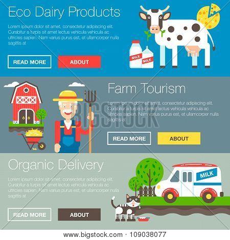 Organic Farm Vector Banners