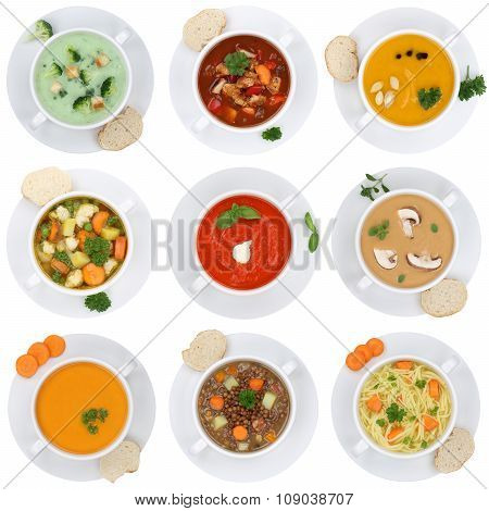 Collection Of Soups Soup In Cup Tomato Vegetable Noodle Isolated From Above