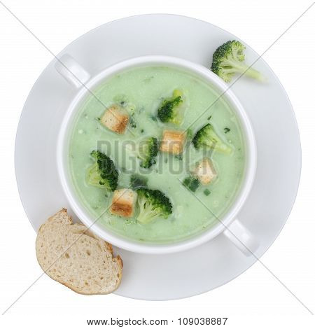 Broccoli Soup In Bowl From Above Isolated