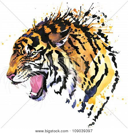 growl tiger T-shirt graphics, tiger eyes illustration with splash watercolor textured background. il