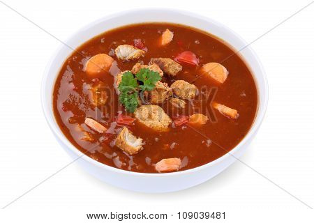 Goulash Soup With Meat And Paprika In Bowl Isolated